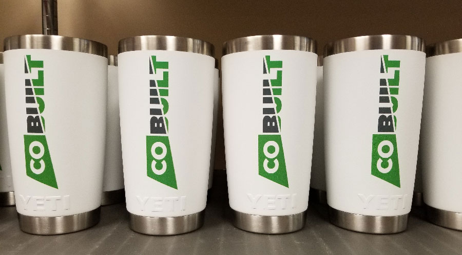 Branded  Yeti  Tumblers from  Engrave It Houston