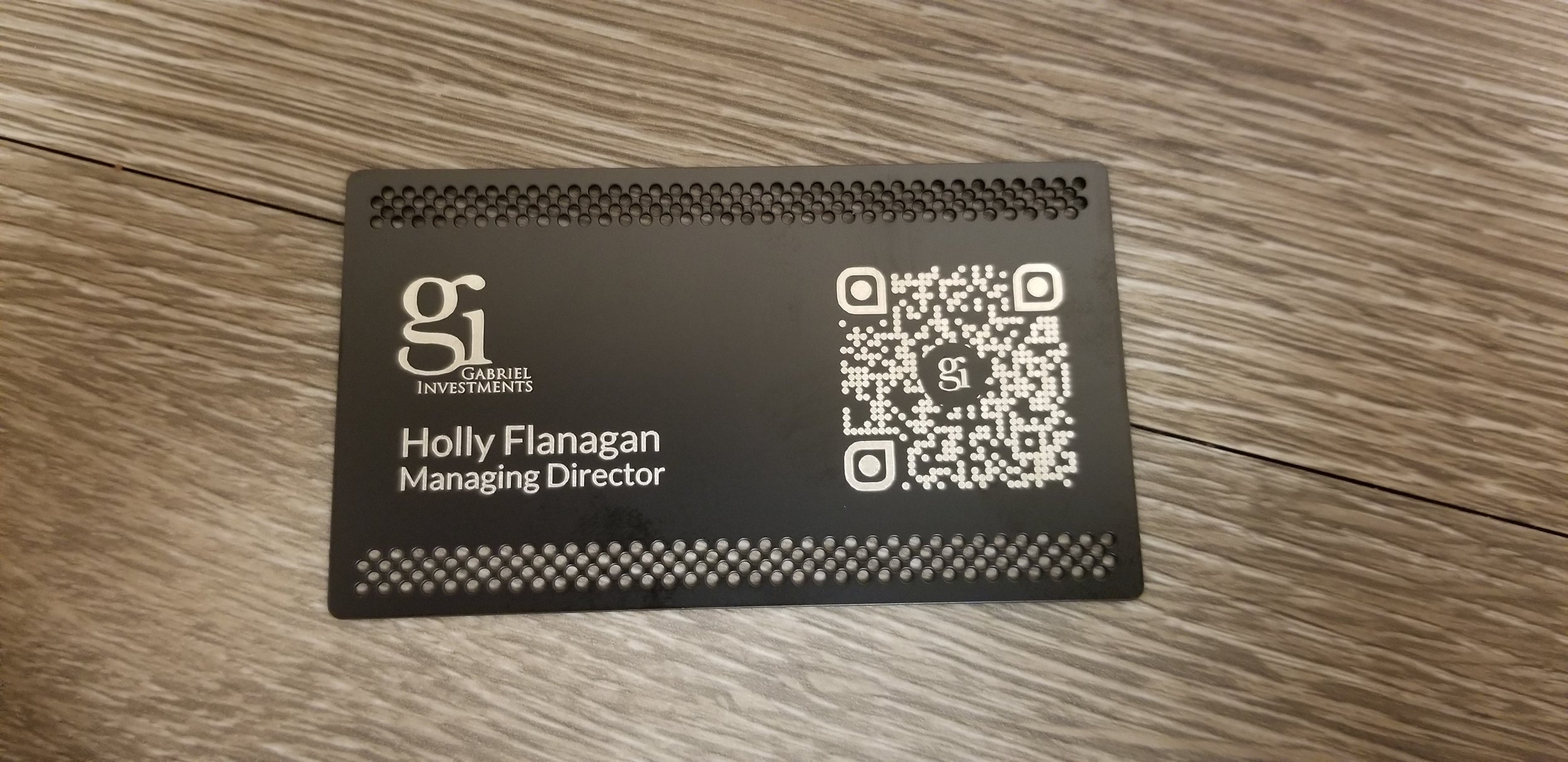 Laser Engraved Business Cards - Custom Engraved Metal Business Cards - QR Code Business Card - Branding Project - Engrave It Houston