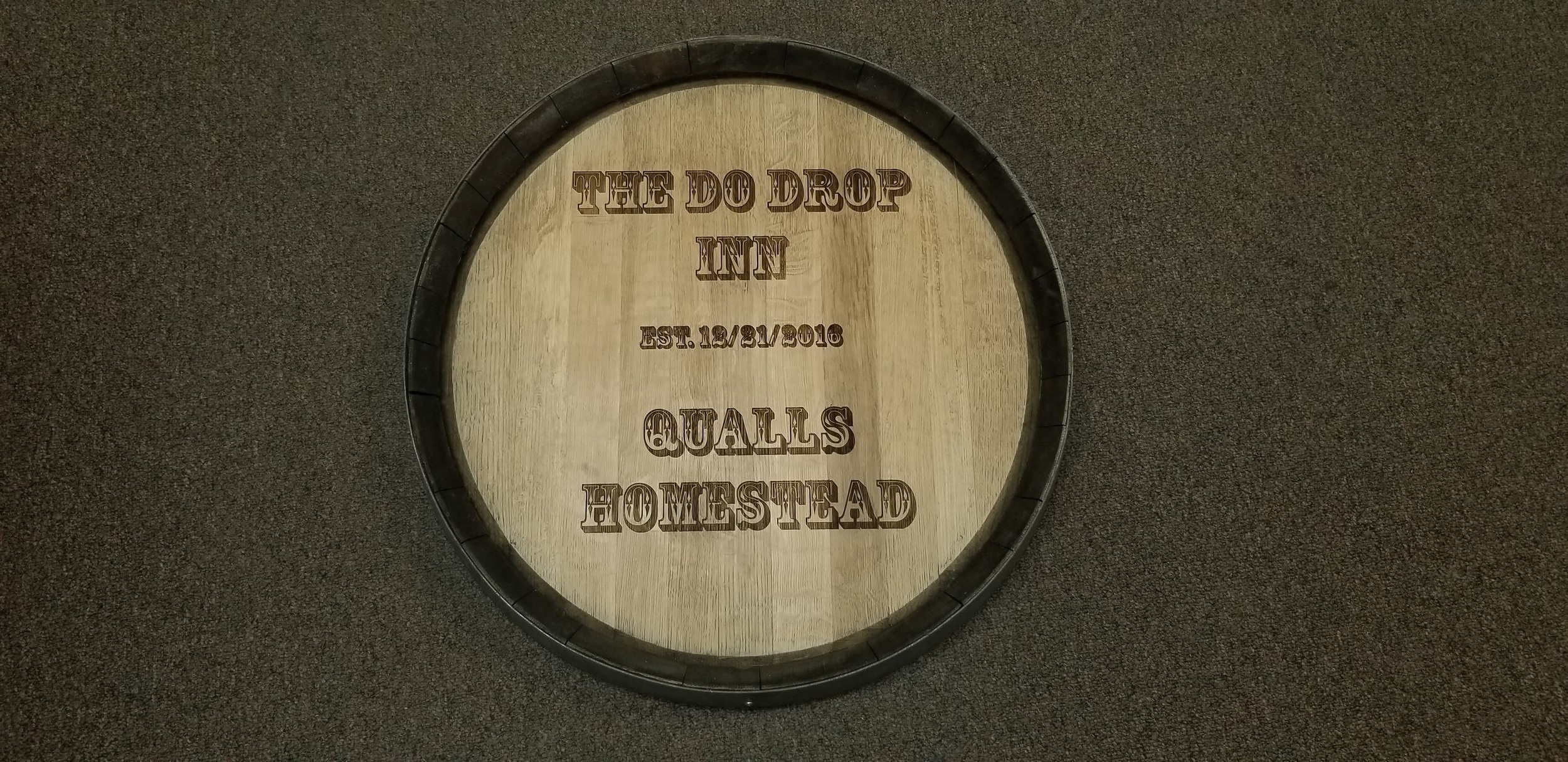 Laser Engraved Branded Table Top - Logo Engraved on Table - Logo Engraved on Barrel -Engrave It Houston