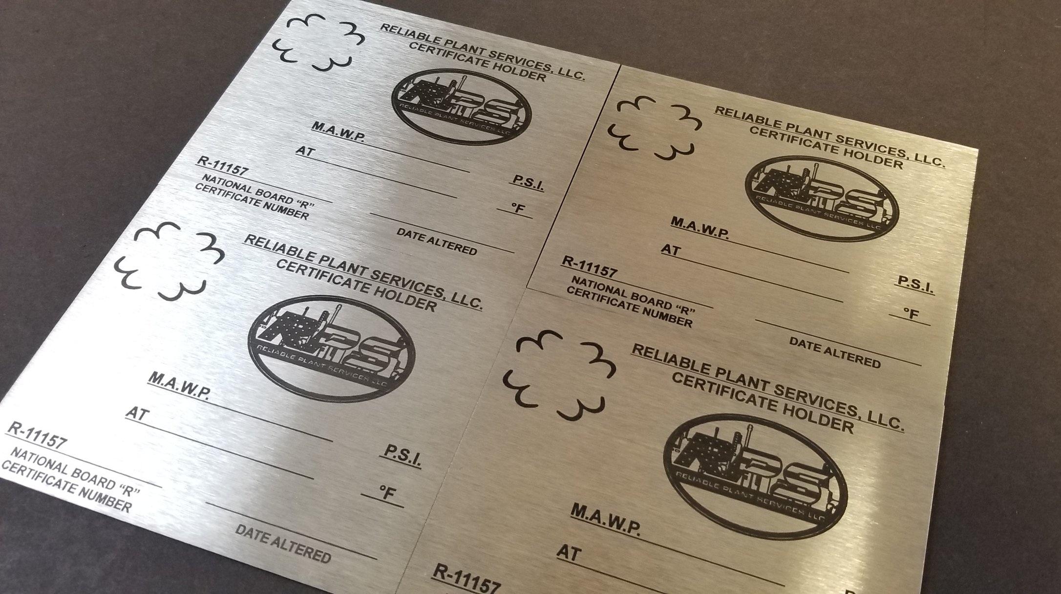 Custom Engraved Metal Plates - Stainless Steel Plates - Metal Tags - Engraved Metal Tags - Industrial Engraving - Engrave It Houston