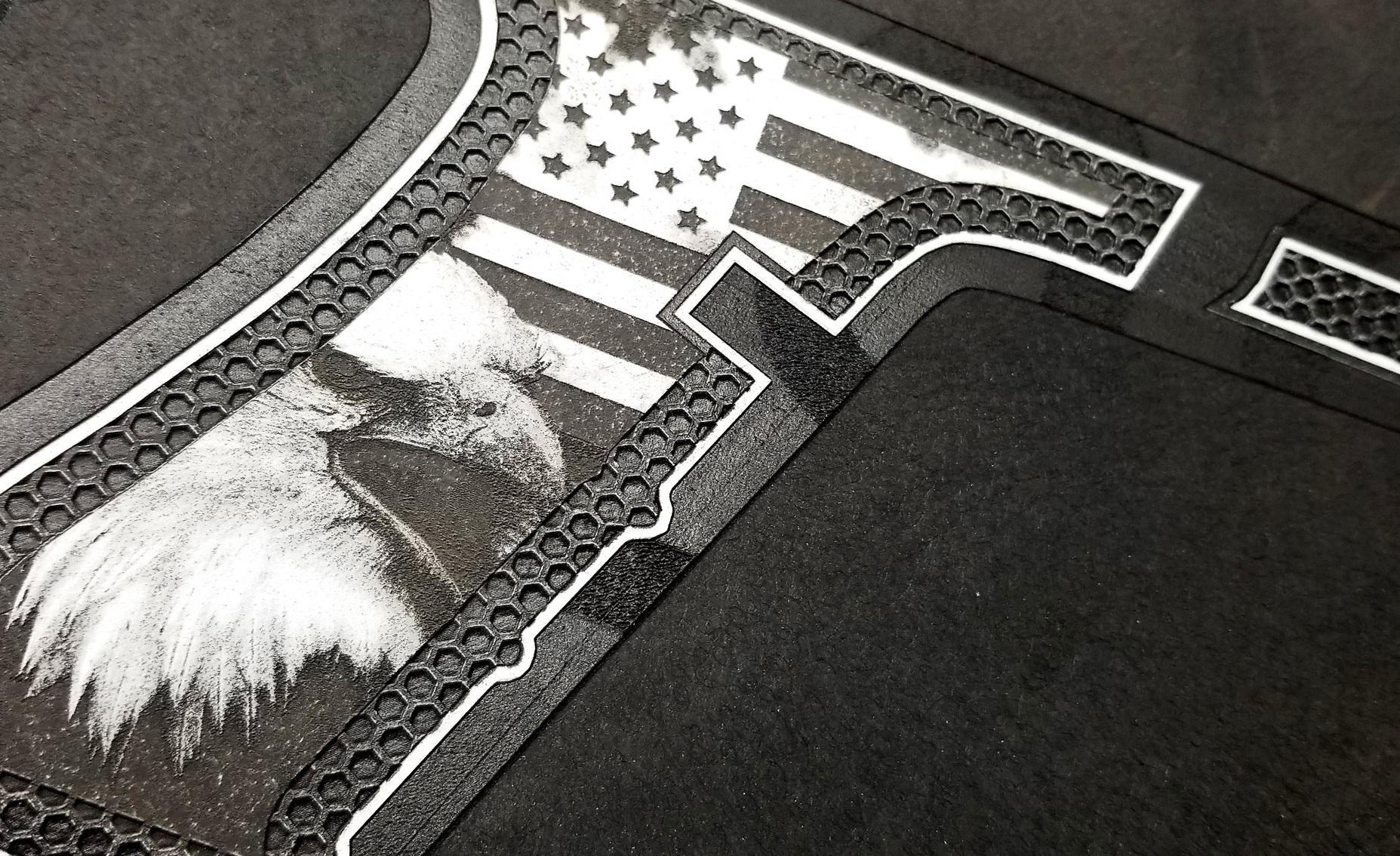 Photo-realistic pistol grip engraving - photo quality firearm engraving - high res firearm engraving - Engrave It Houston