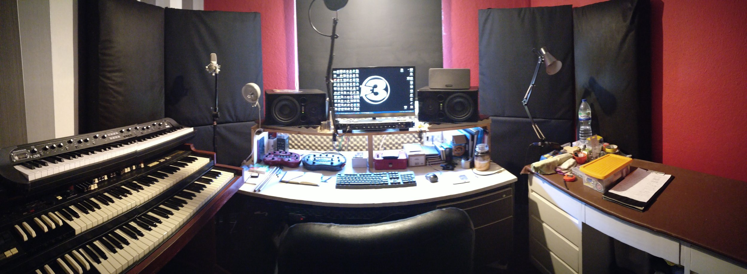 The teaching environment - a small but fully equipped recording studio with access to digital media and many other resources.