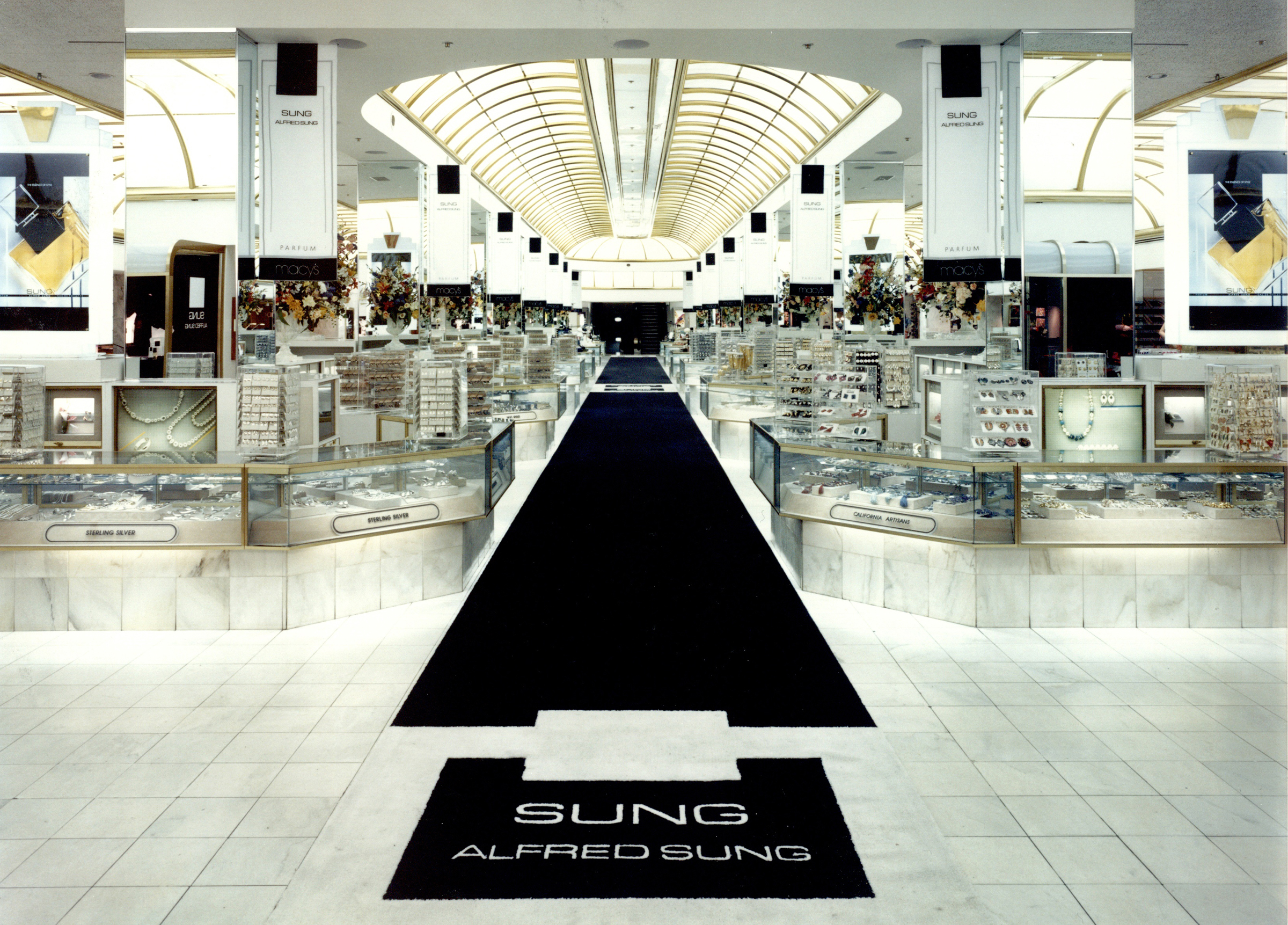 The fragrance counters at Macy's in San Francisco during the launch of SUNG in 1986.