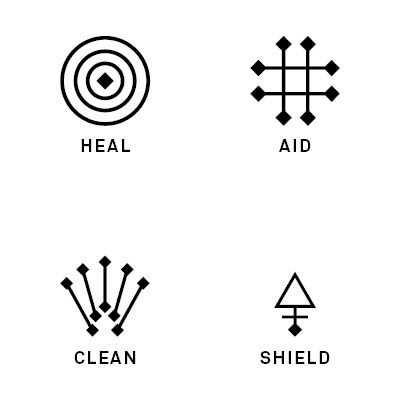 Icons of care  - Based on Otzi's tattoos of lines and dots, each symbol reflects the use of the product. Be it the aloe vera silhouette of 'Clean' or the cross of 'Aid'.