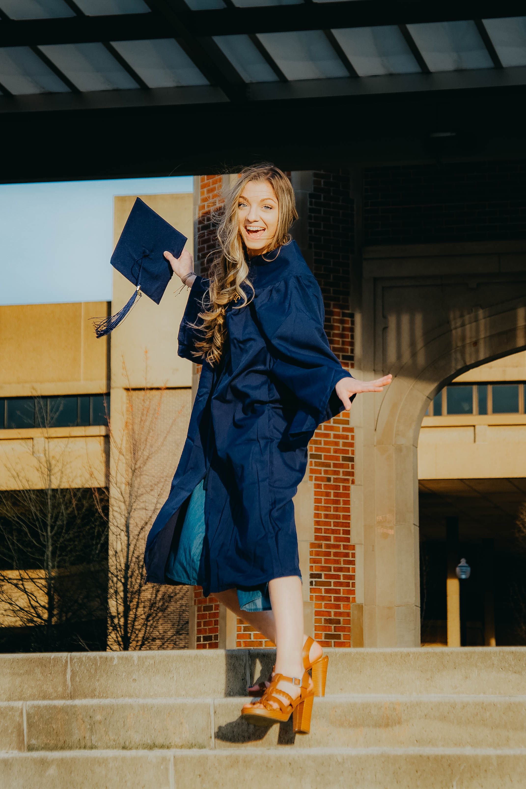 Once we got her loosened up she started dancing on the steps, typical Maddie.