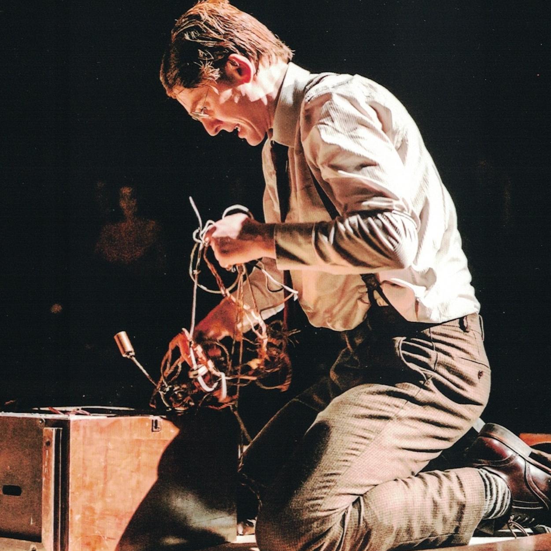 Brendan Bracken (Ian Toner) in a frenzied attack on the wireless set in Double Cross.