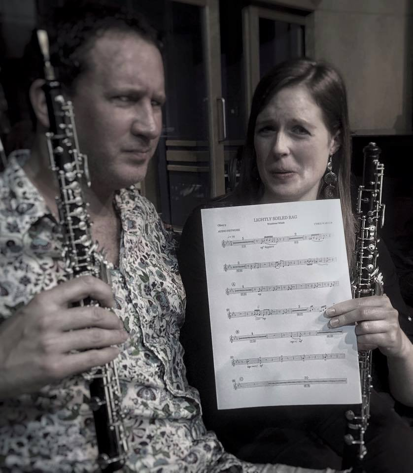 English Session Orchestra commander-in chief and Oboe Maestro Dom Kelly with sidekick Katie Bennington clutching their 'Lightly Soiled Rag'….
