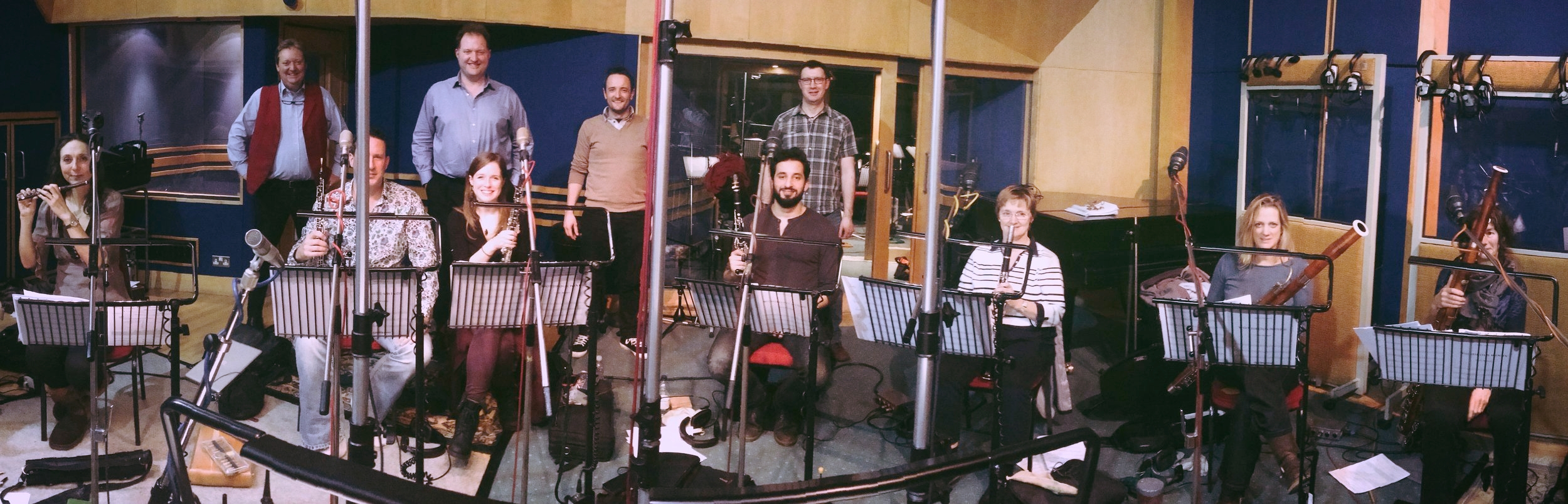 The Wondrous Woodwind department of the English Session Orchestra in Abbey Road Studio 3, with (back row) Andrew Sunnucks (Audio Network founder) and Julian Gallant (conductor)