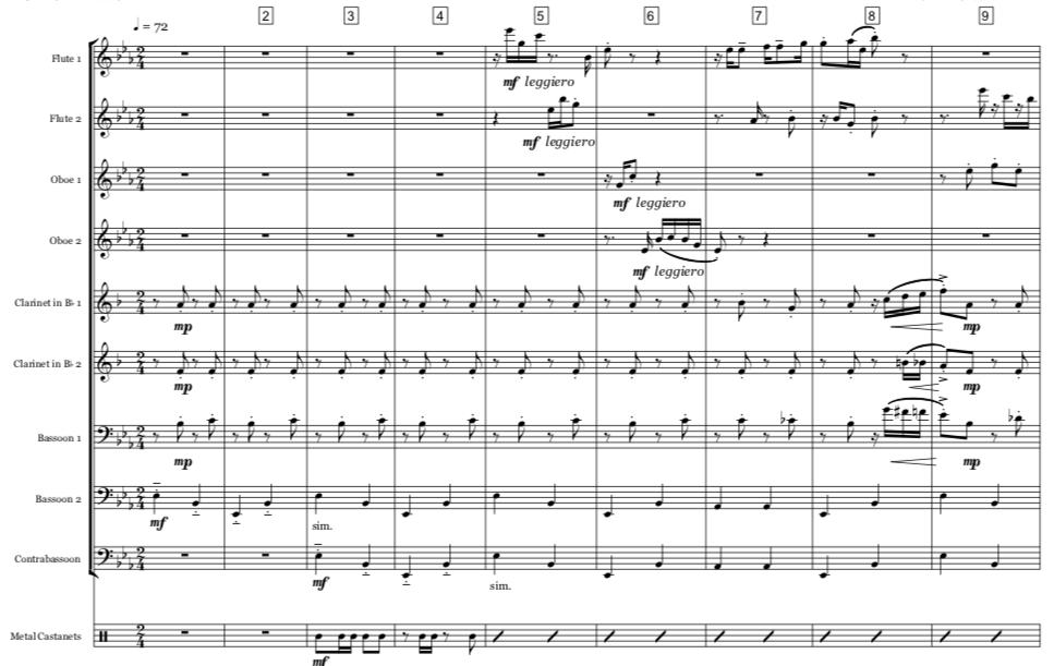 The ragtime theme of  Lightly Soiled Rag  travels through the woodwind texture like a contagious musical chuckle