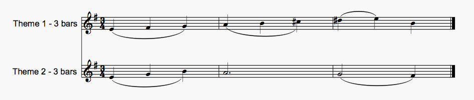 Two of the main themes from 'Celestial Citadel' - each one 3 bars long and in 3/4…