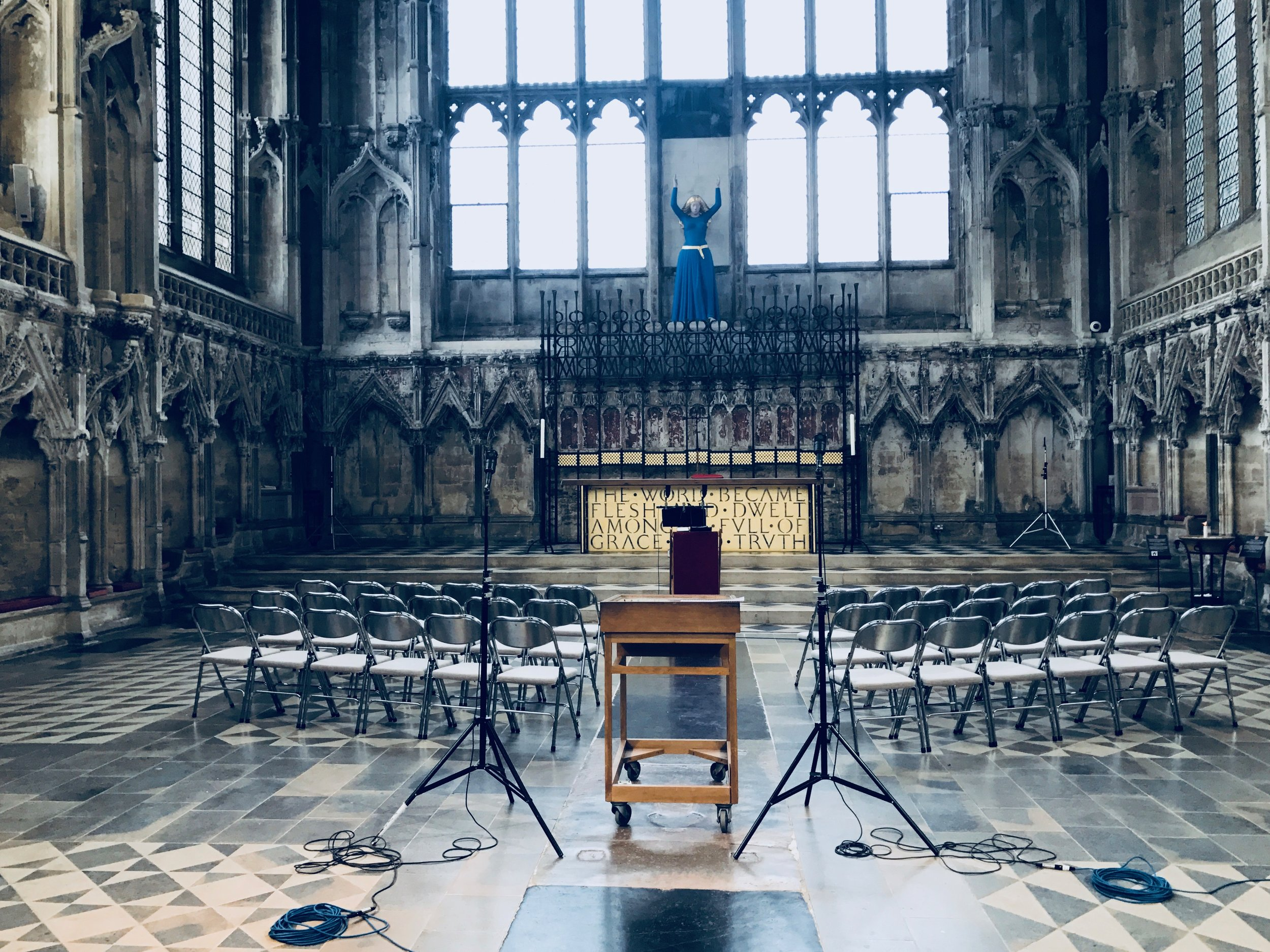 The microphones are set up ready to record in the Lady Chapel at Ely Cathedral