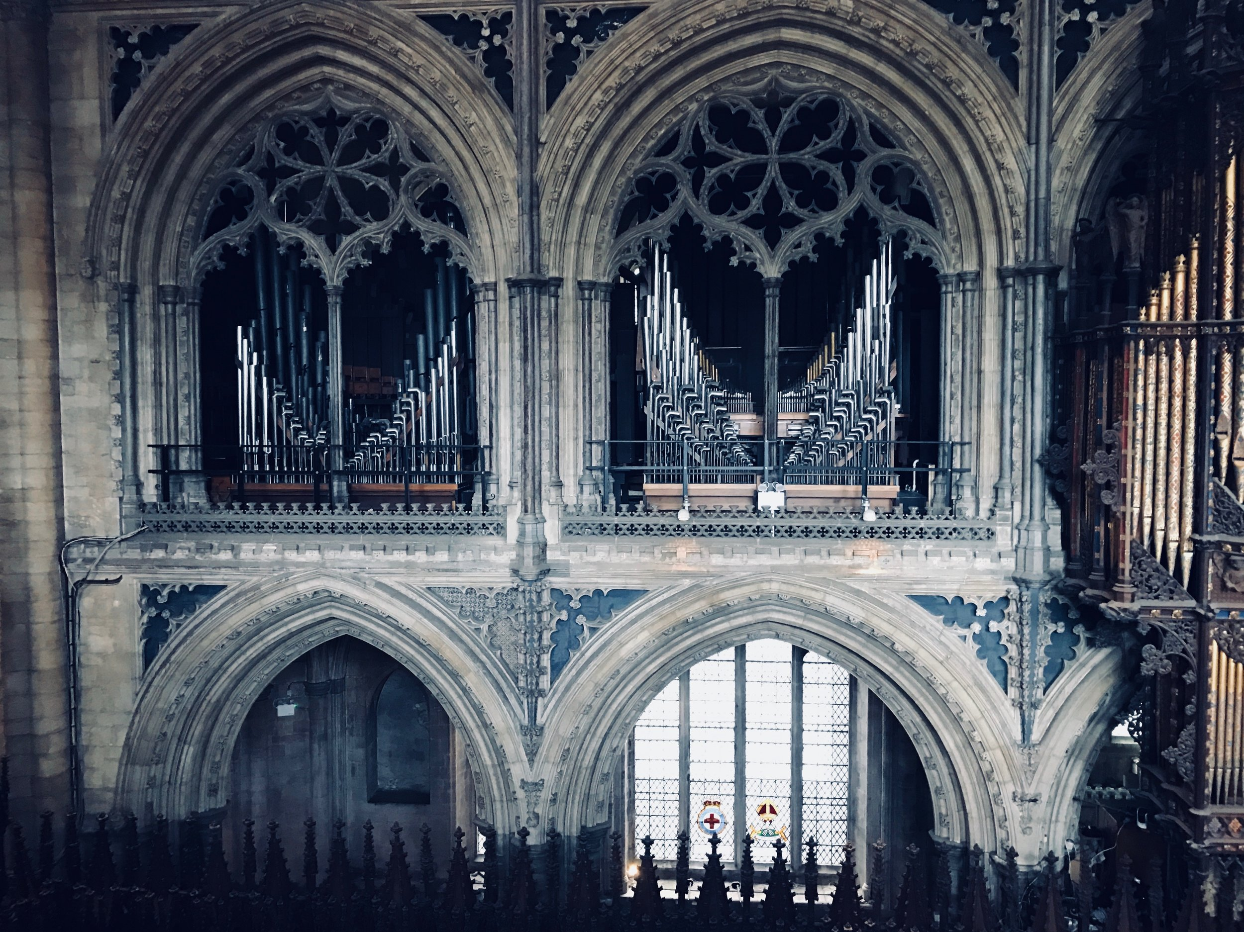 The pipes of the organ at Ely Cathedral are housed in different galleries within the building