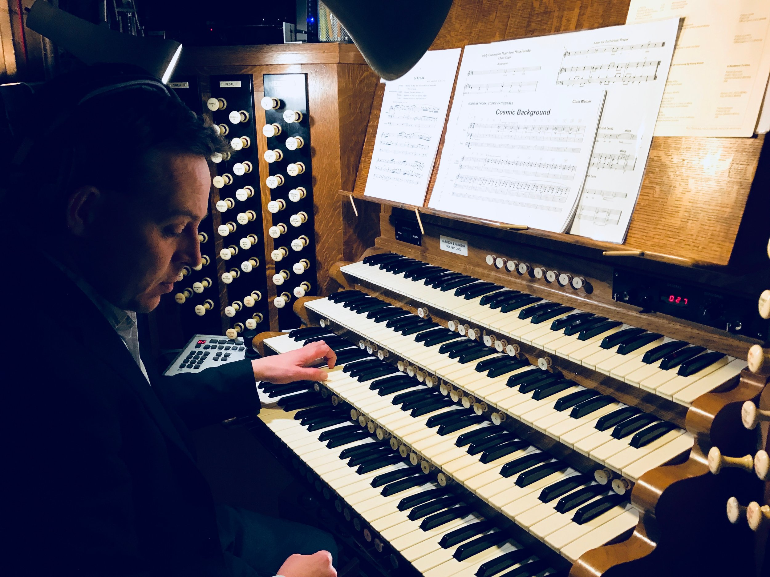 Ely Cathedral Organist, Edmund Aldhouse, behind the console of the mighty Harrison & Harrison Organ.