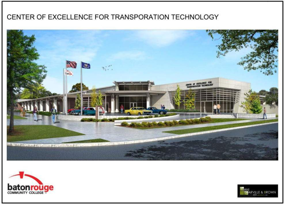 Rendering provided by LOUISIANA'S COMMUNITY AND TECHNICAL COLLEGES -- Construction is starting on Baton Rouge Community College's Center of Excellence for Transportation Technology for completion in late 2016 or early 2017. The automotive training center will be one of the anchors of the Ardendale development, which will be built on a 200-acre tract northeast of BRCC near Florida Boulevard. The center will train college and high school students to work as mechanics and give them a chance to become familiar with the latest equipment. The center also will be a place where veteran mechanics can complete certification programs.
