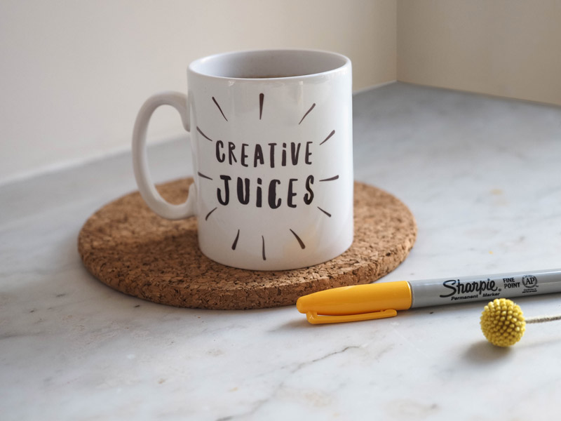 Queen Bee Creativity: Creative Juices Mug and a yellow Sharpie