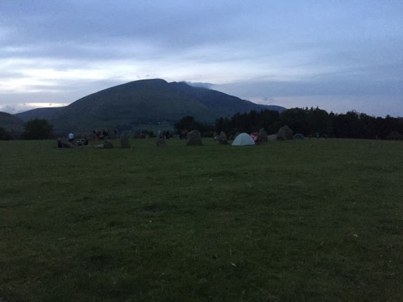 Castlerigg Stone Circle at dusk, June 20. Many have camped out to celebrate the solstice at sunrise.