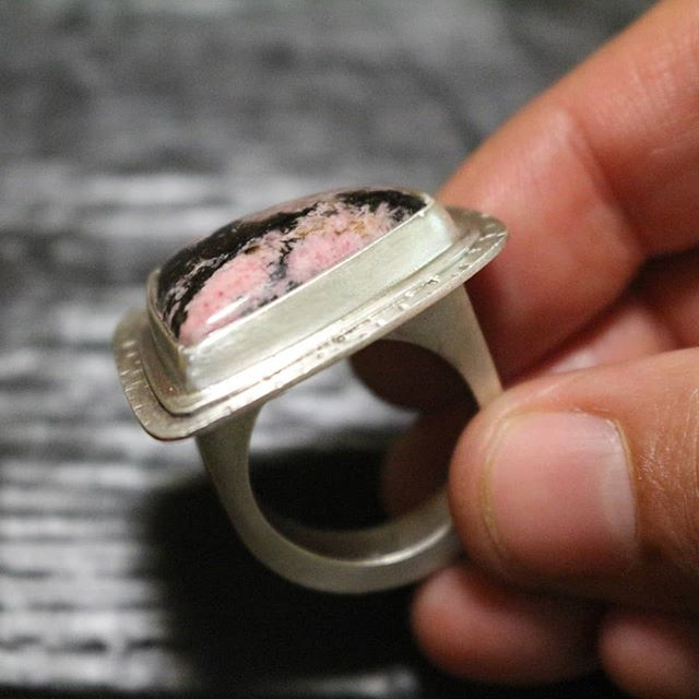 Holloware Statement Ring with Rhodonite stone.  #jewelry #statementring #silver #925 #handcrafted #maker #snag #arielleespinosa #ring #love #holloware #silversmith