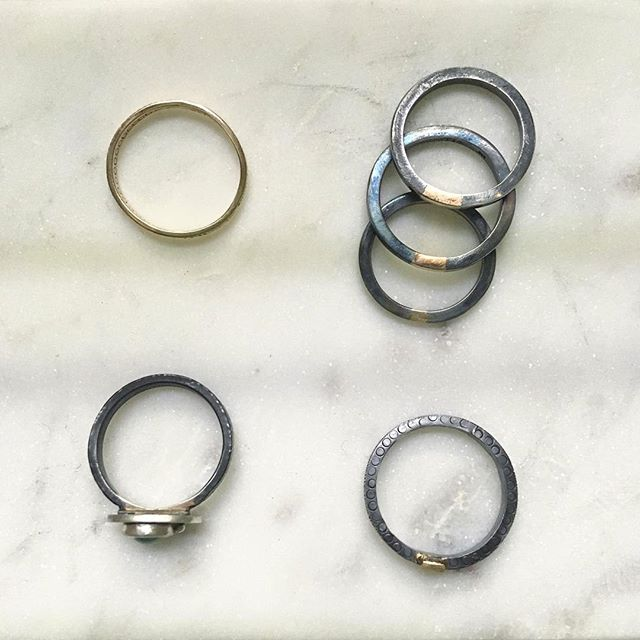 Rings,rings, rings! Sterling silver and 14kgold stackers full of texture and contrast. All made with recycled materials. #jewelry #rings #sterlingsilver #14kgold #handcrafted #metalsmith #snagmember #arielleespinosa #ethicalfashion #ethicaljewelry #slowfashion