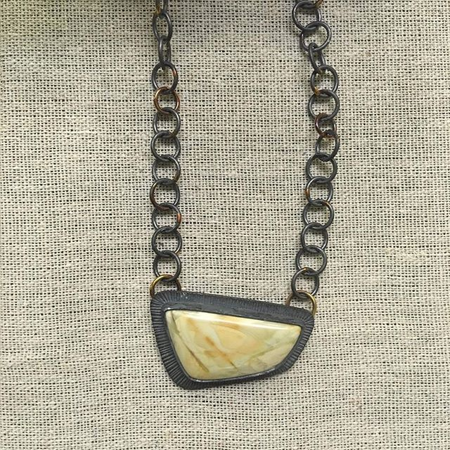 Sterling silver Jasper pendant, chain soldered with 14k gold with 14k accent jump rings. #handcrafted #necklaces #sterlingsilver #14k #jewelry #jewelrydesigner #snagmember #metalsmith #silversmith #arielleespinosa #maker #ethicalmetalsmiths #slowfashion #ethicaljewelry