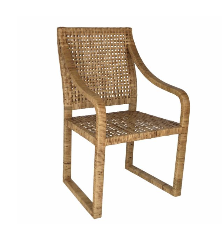 Price: $375     Pros: I love cane furniture and the wrapping technique on the arms and legs, plus the shape of this chair is perfect for doing work.     Cons: This chair is less substantial than I typically choose for a living room accent chair, and has more of a dining room feel.