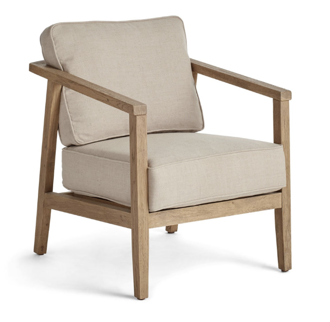 """Price: $448.97 (on sale)     Pros: In terms of look, this chair fits in perfectly with the rest of the room- it has a rustic feel from the raw wood frame, and it's a midcentury modern silhouette like the sofa.    Cons: With a seat height of only 17.5"""" this chair is just barely tall enough for comfortably working at a desk."""