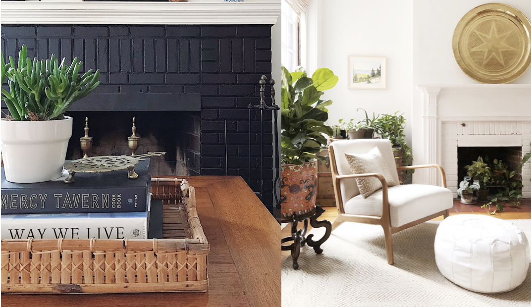 Painting ugly orange brick fireplace surround in either dramatic black, or clean, fresh white is an easy way to build a beautiful focal point into your room.