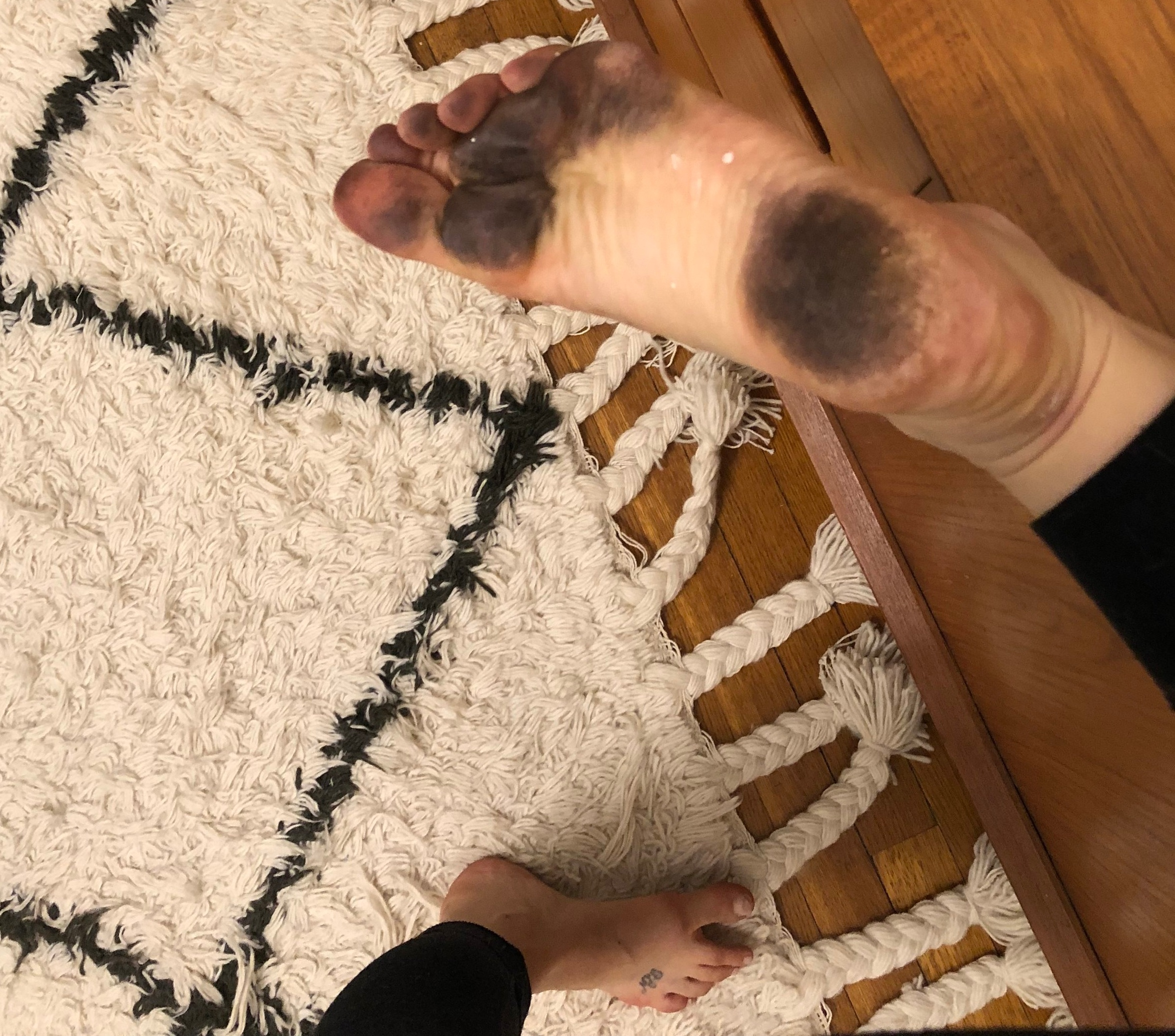 This is what my feet looked like after painting, even though the floor looked clean! That super fine paint mist can be sneaky!
