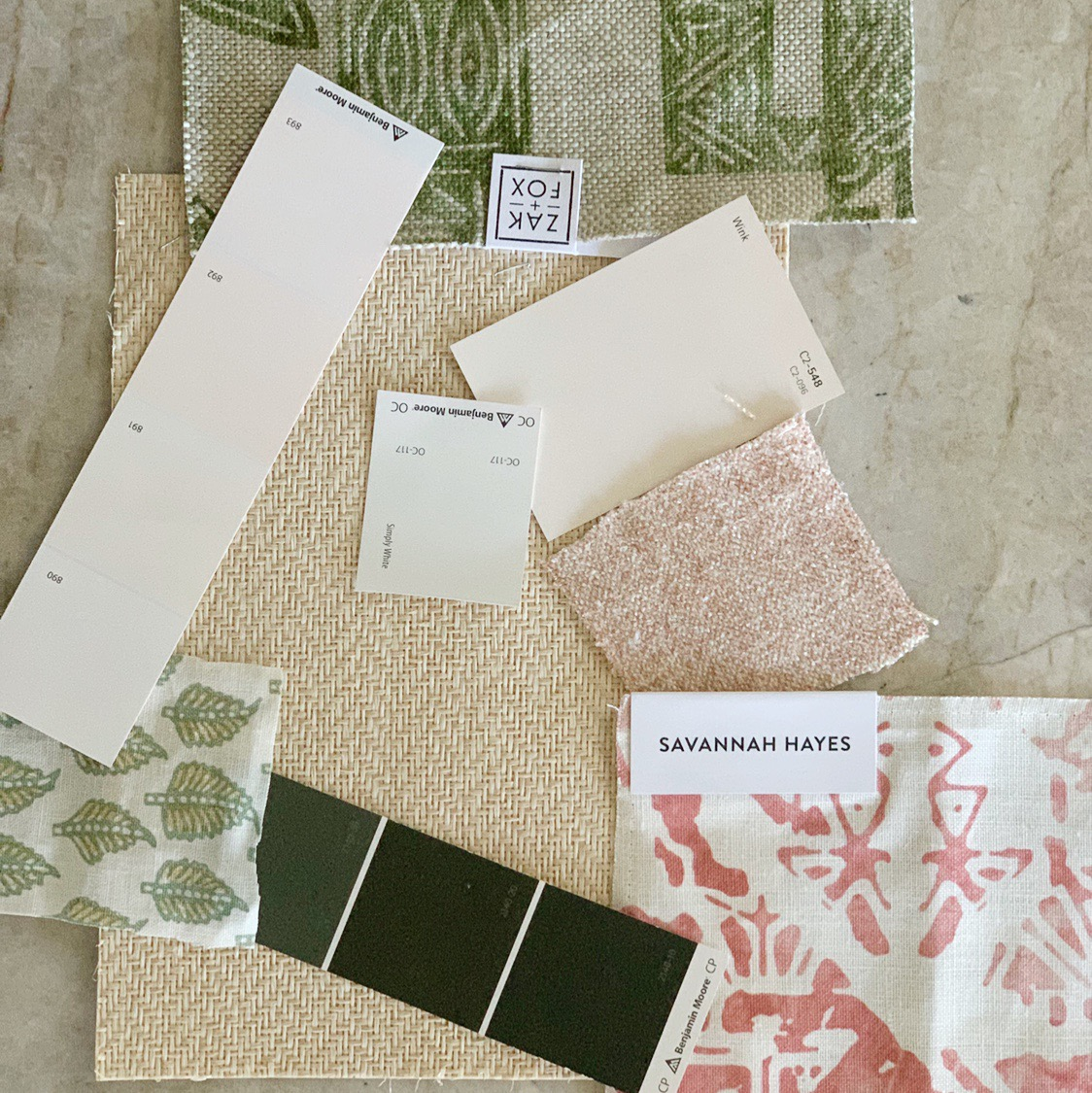 Scheming with fabrics, grasscloth, and paint!