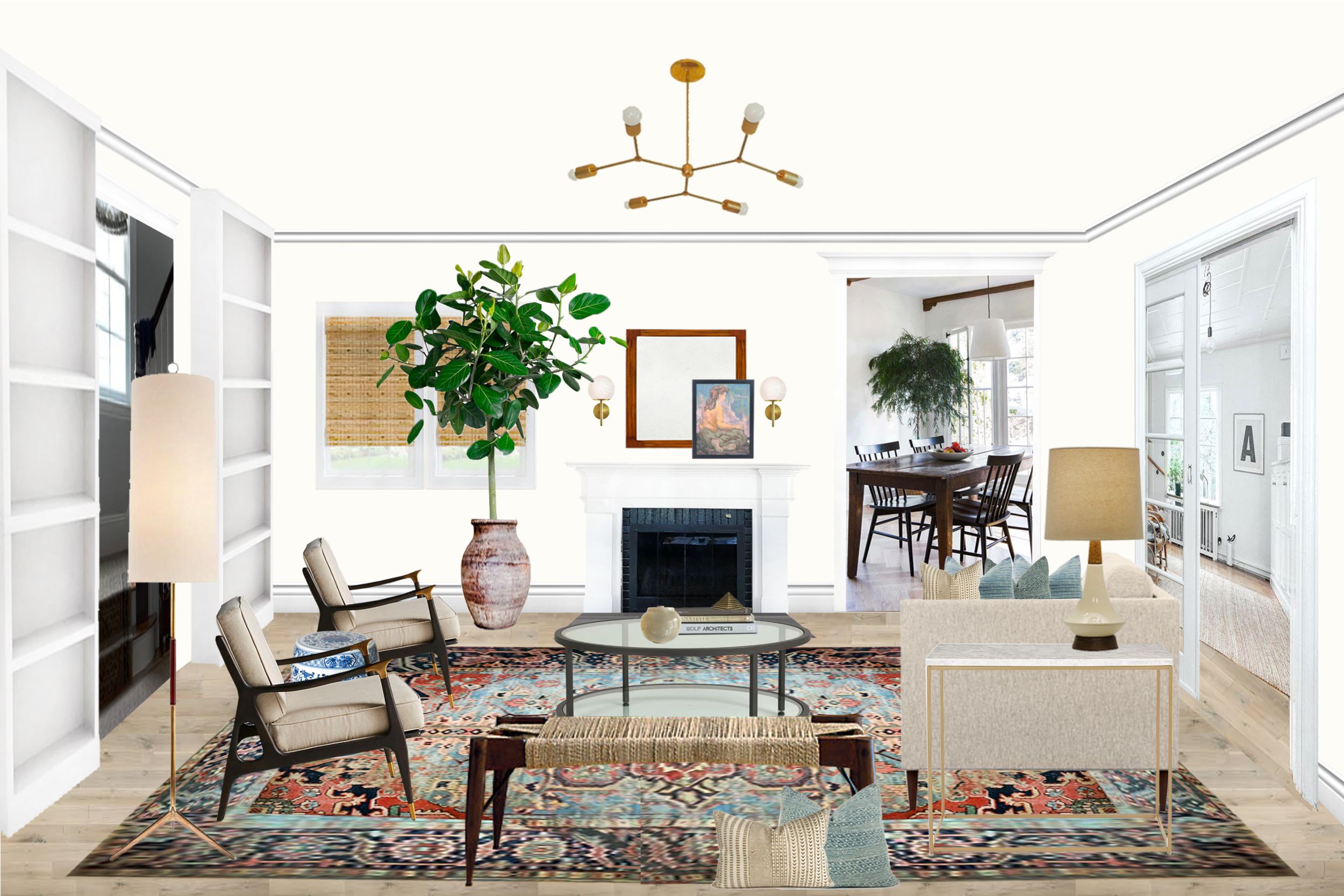 Annabel's living room rendering for a recent client. That vibrant, vintage rug is the true showstopper in the room! These clients are sure to get lots of ogling next time they have friends over!