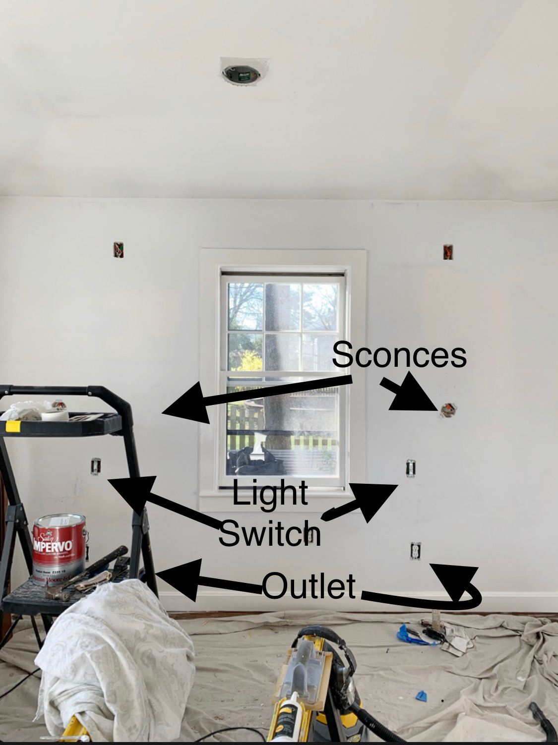Sorry for the painting equipment blocking the view! But this gives you an idea of where we located the electrical in relation to where the bed will go.