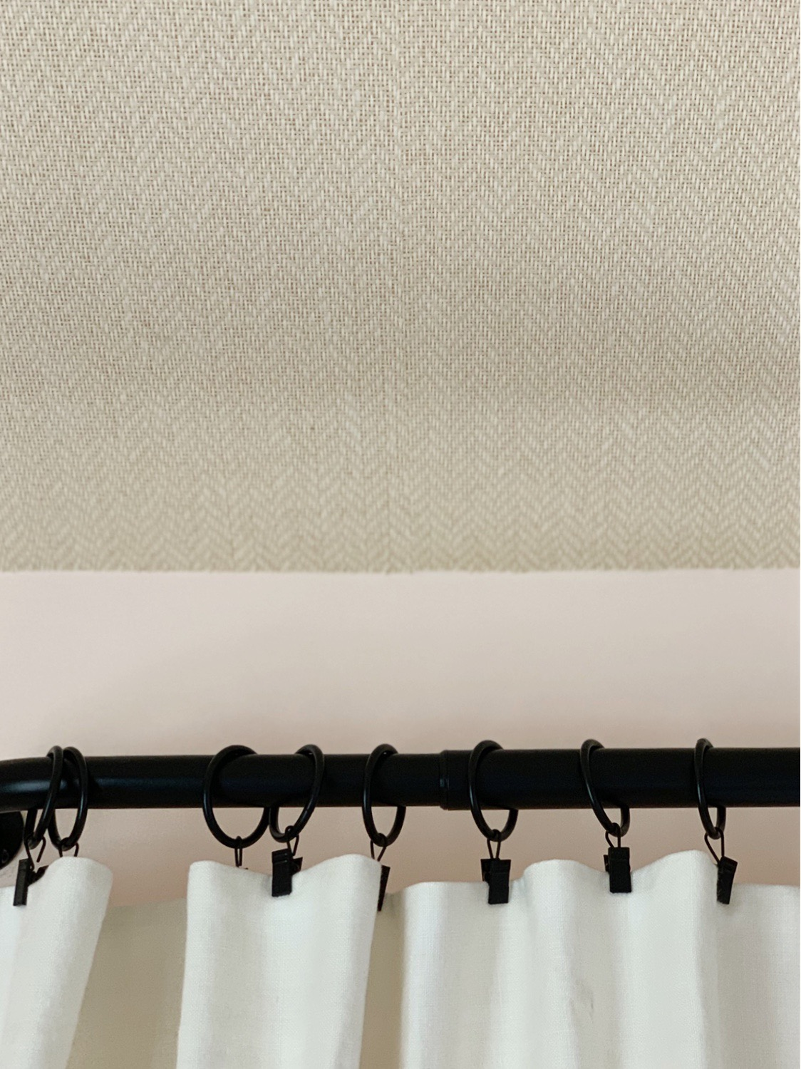 Close up of the grasscloth wall covering we used on the Bermuda tray ceiling (from Ralph Lauren Home).