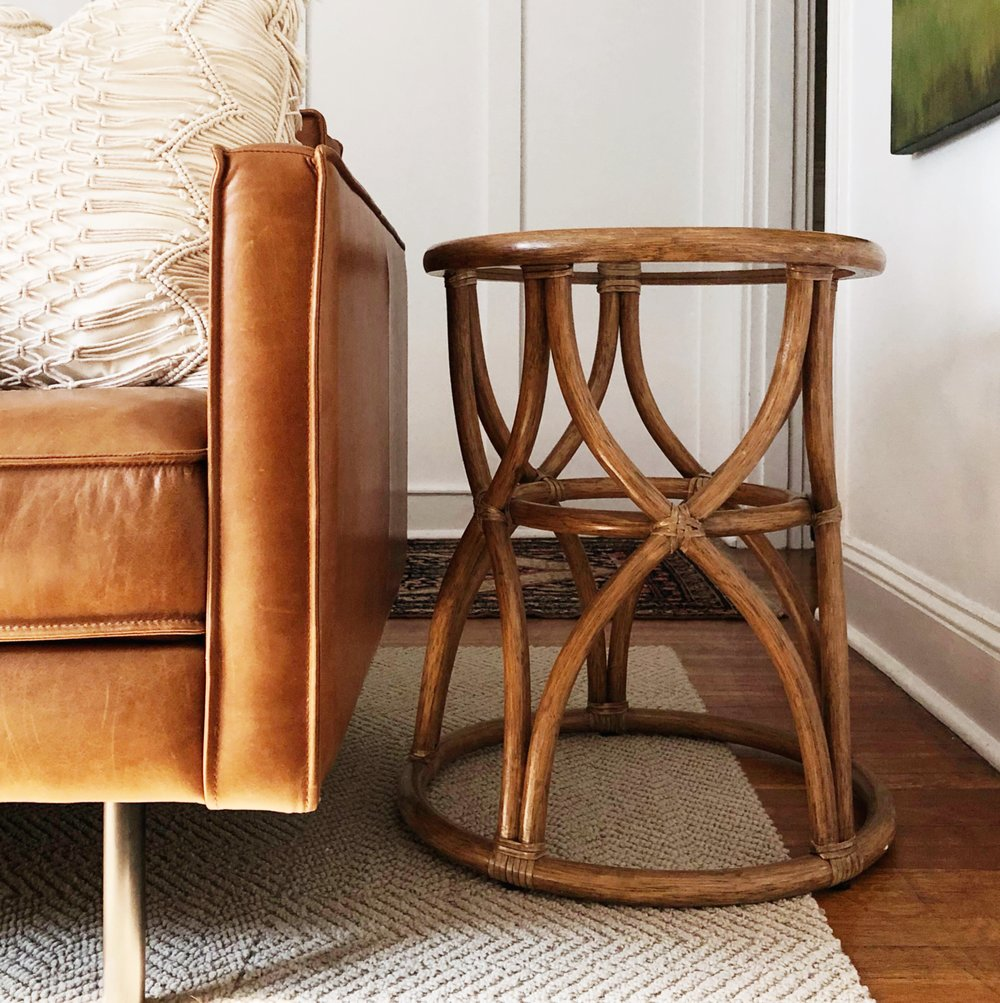 McGuire Rattan Side Table