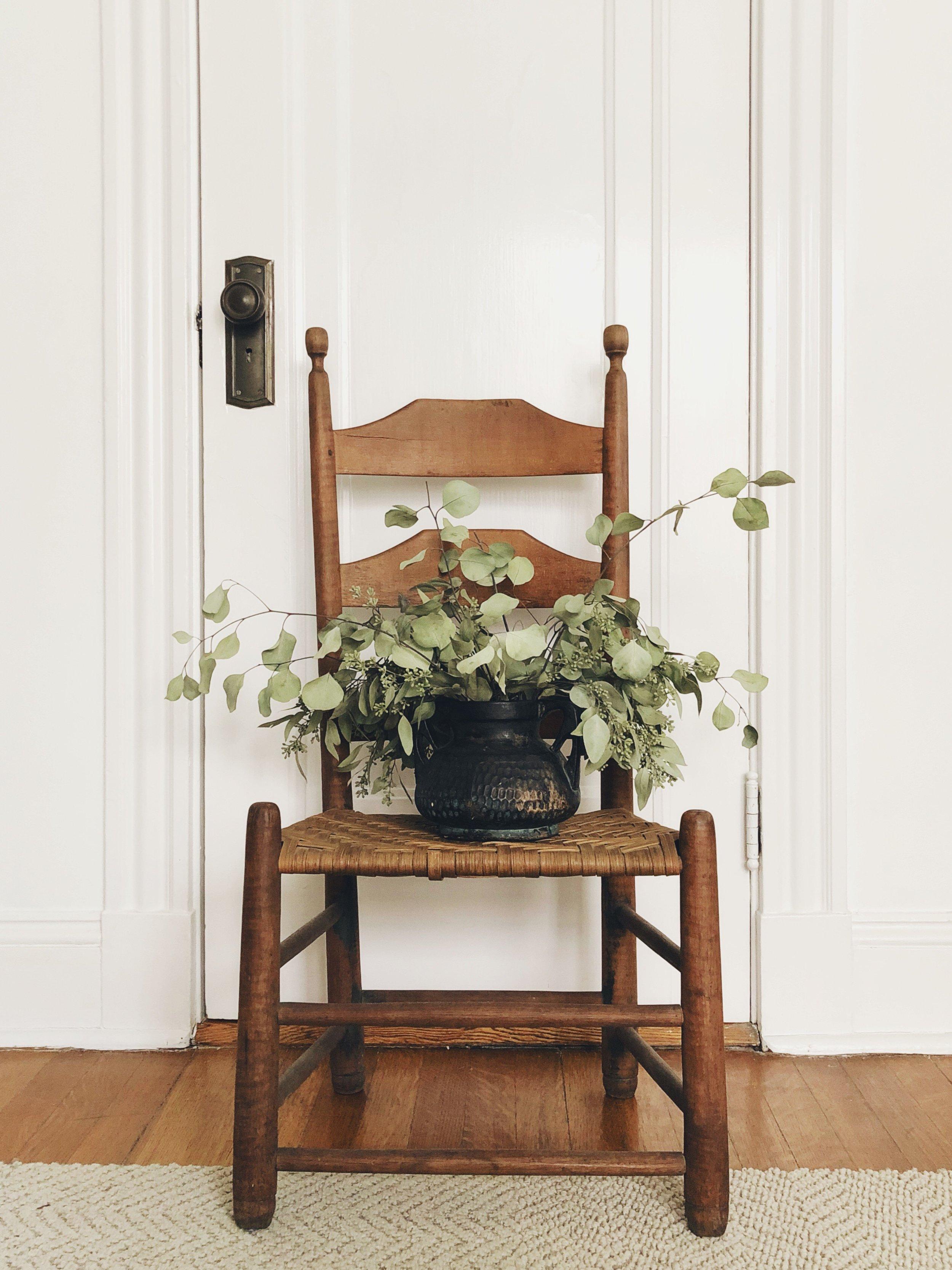 Ladder back chair, circa 1800