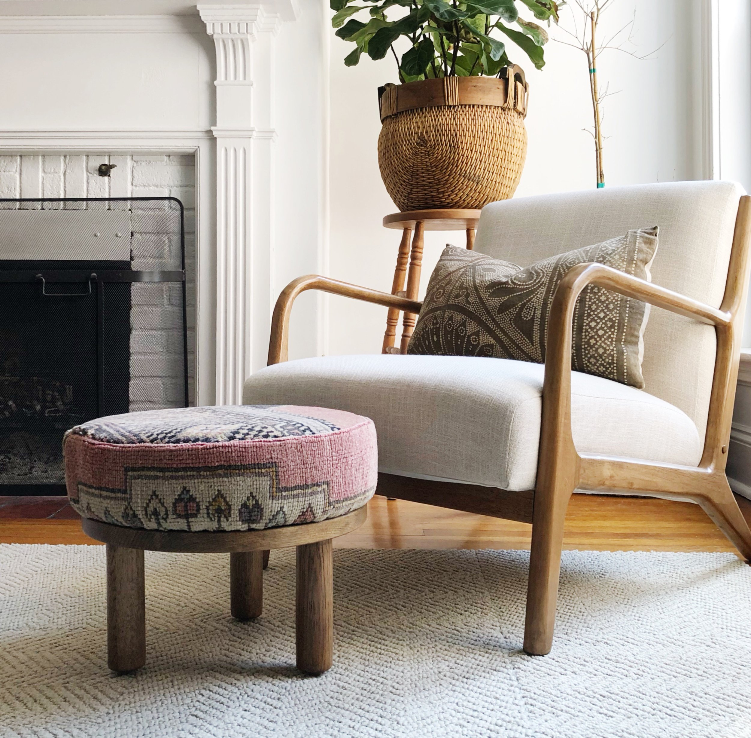 Vintage Rug Upholstered Stool
