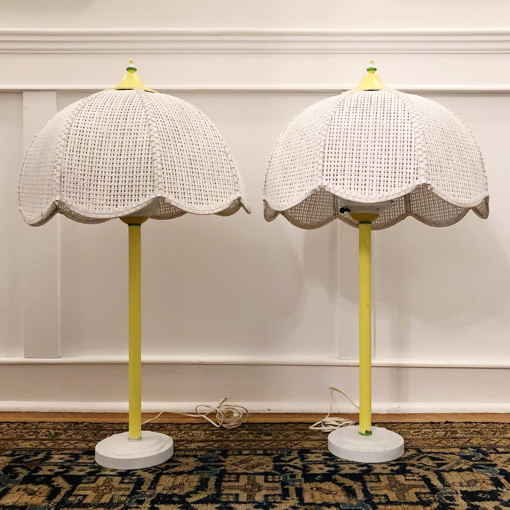 Mid Century Caned Lamps