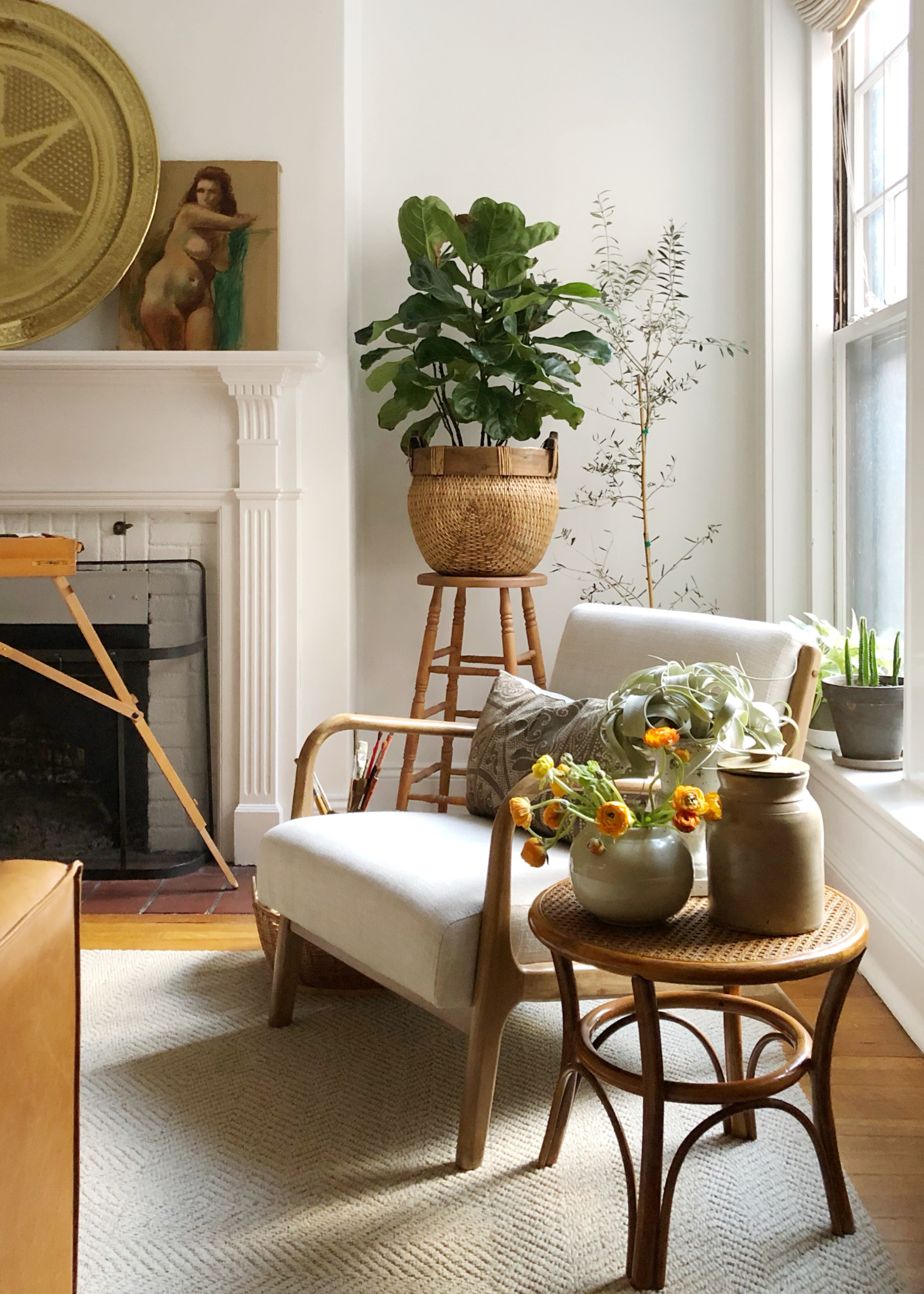 rattan and cane side table