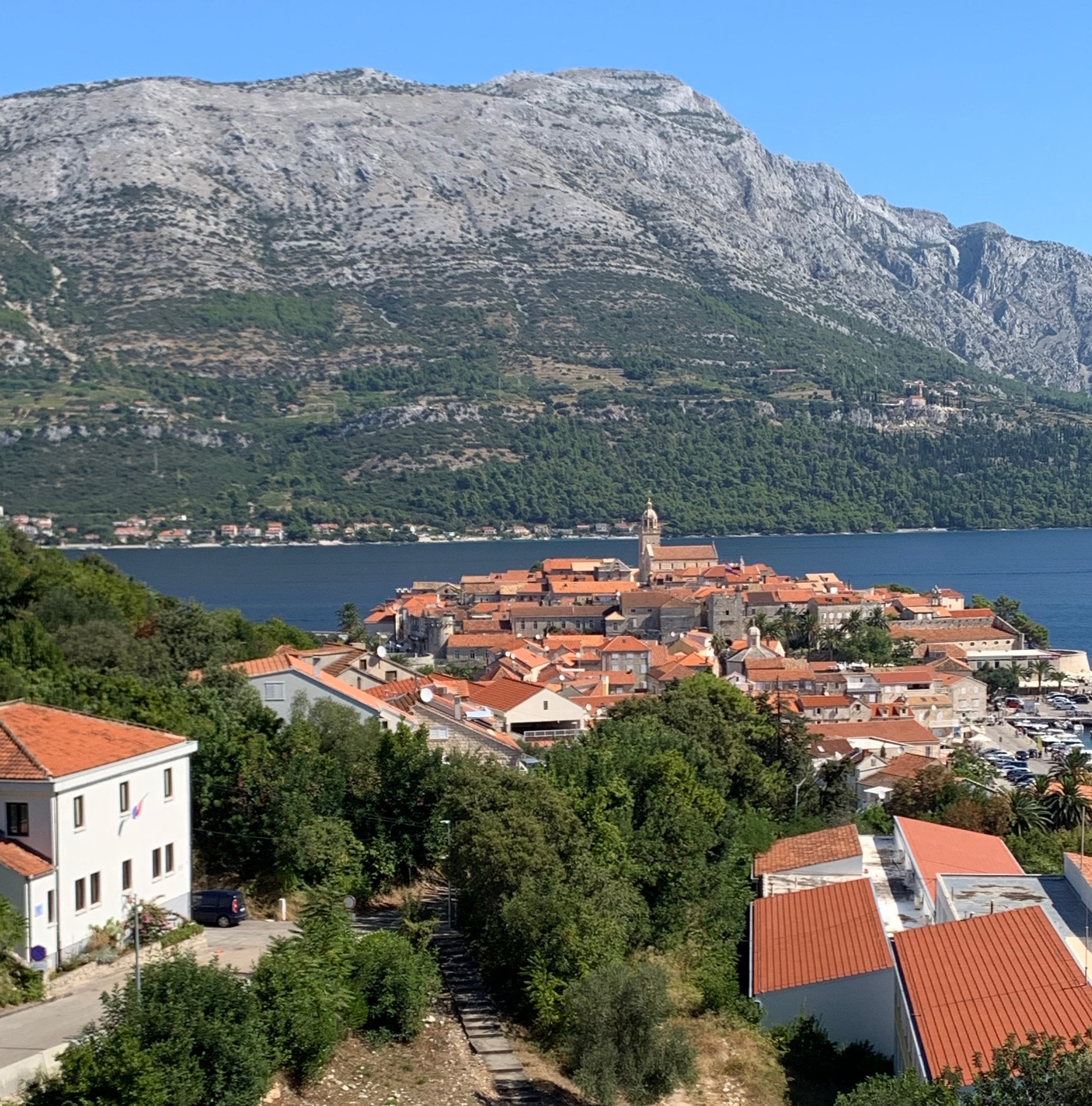 View to Old Town, Korcula from the Tommy Supermarket Parking