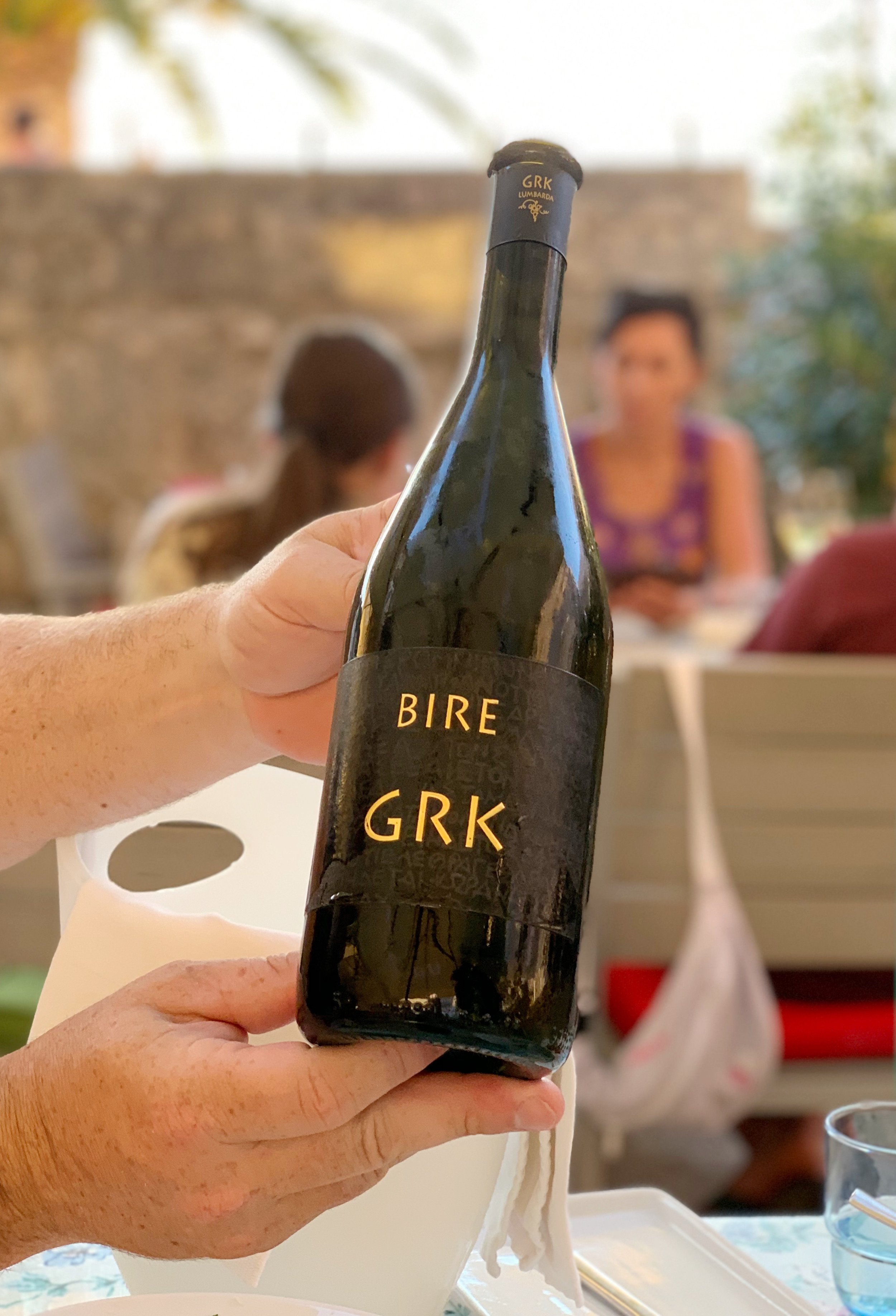 Grk wine, made from grapes grown only in Lumbarda, Croatia. Bire was my favorite brand.