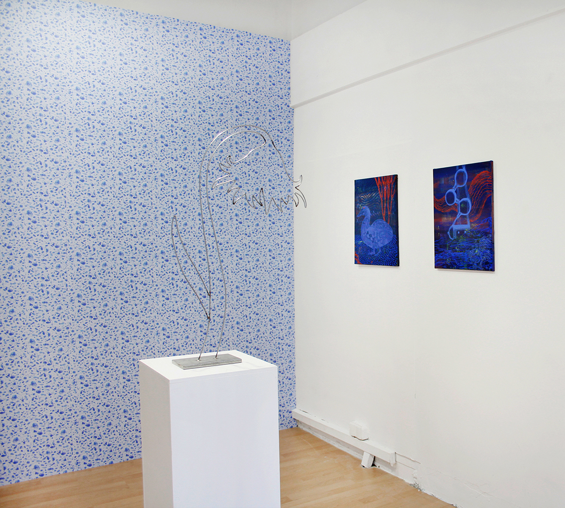 "Installation shot of ""Tales of an itchy body and mind"", with Maren Schneider at RaumZ13, 2018"