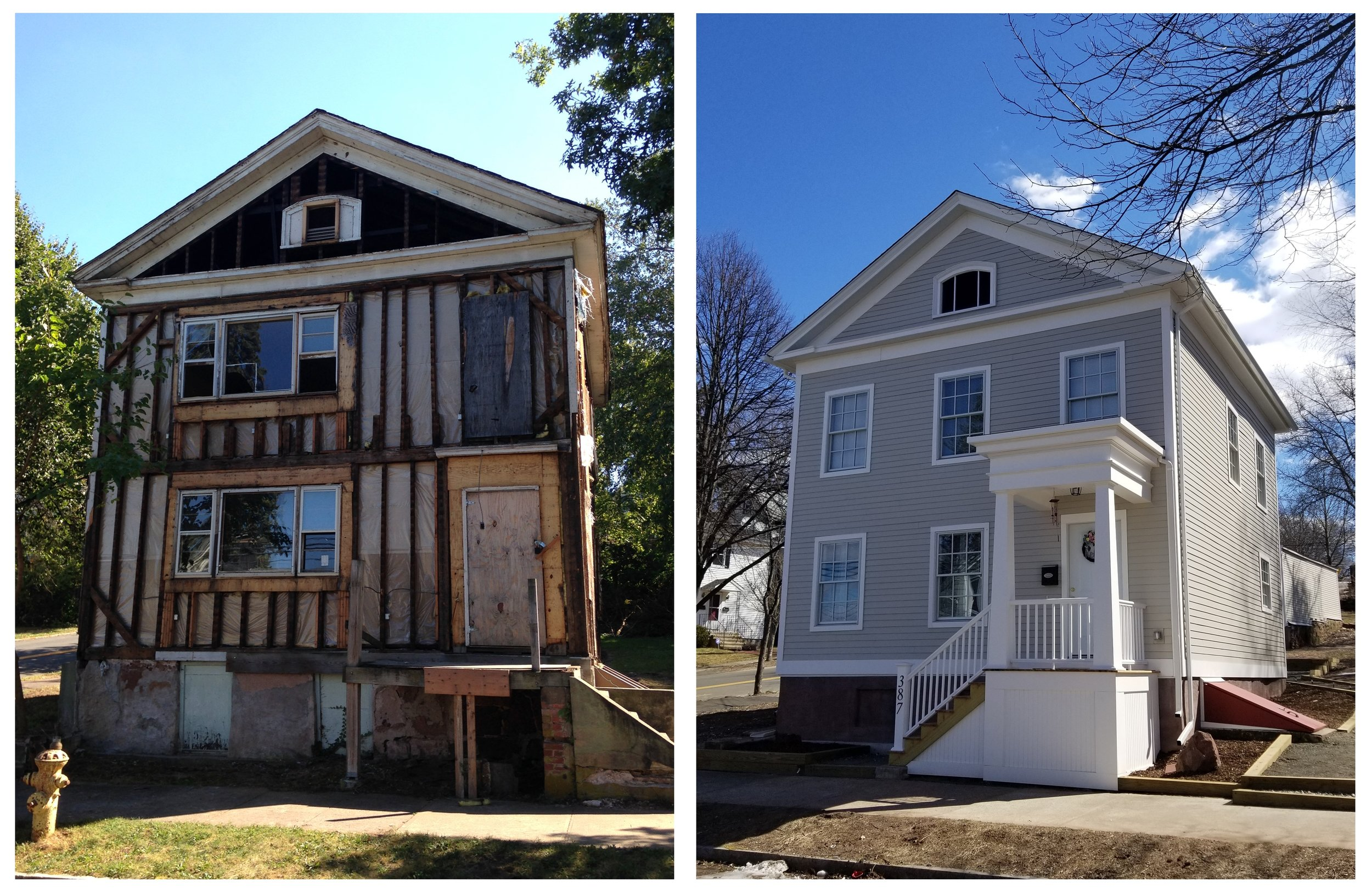 Before and after Habitat for Humanity's restoration of 387 Lenox Street