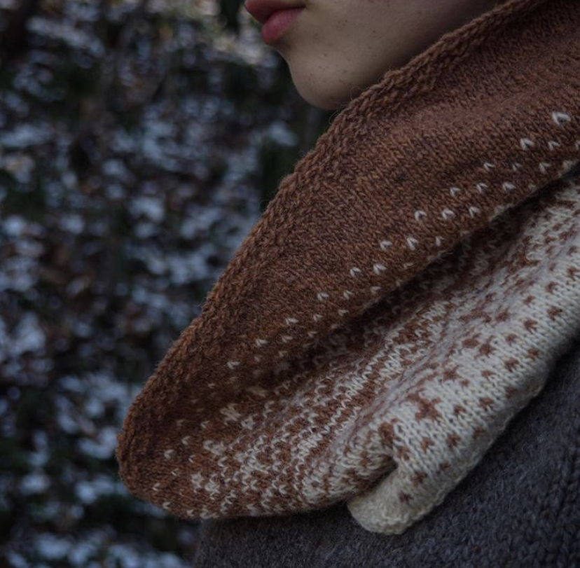 Hoar Frost - Designed by Maria Muscarella (aka Ninja Chickens) Using our Seafolk 1 ply fingering weighting in the colour Rhodonite + Our Wild Wool 1 ply Fingering weight in Natural White.  https://www.ravelry.com/patterns/library/hoar-frost-3