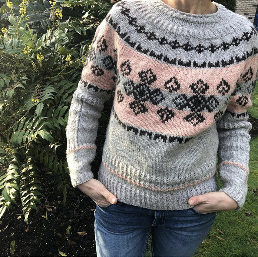 In The Wild - Designed by Natalie V Using our Wild Wool 2 ply worsted weight in Natural light grey + Natural Brown. Also Our Seafolk 2 ply worsted weight in Pink Rose.  https://www.ravelry.com/patterns/library/in-the-wild-2
