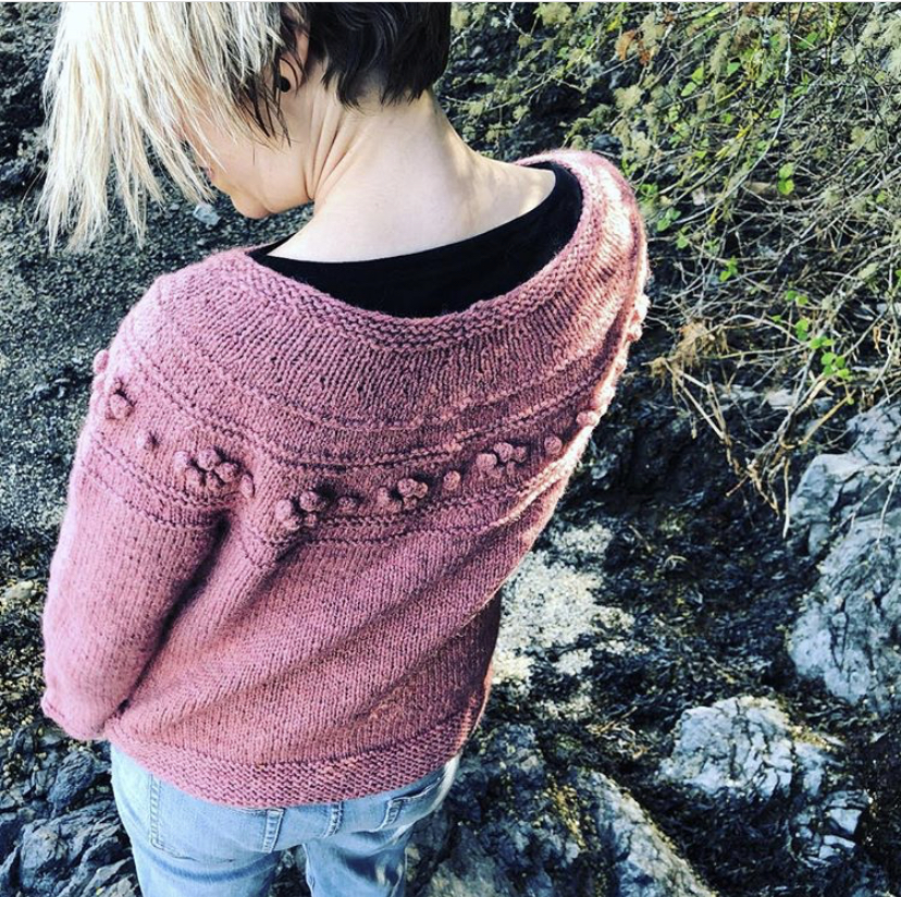 Alberta Rose - Designed by Heidi Kirrmaier and knit by Jessica Schwab in our Seafolk 2 ply worsted weight in the colour Dusty Rose.  https://www.ravelry.com/patterns/library/alberta-rose