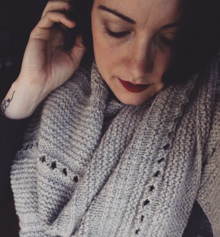 Homestead Shawl- Designed by Melody Hoffmann - Knit by (me) Sirena Dawson in our Wild Wool 2 ply worsted weight in Natural light Grey.  https://www.ravelry.com/patterns/library/homestead-6