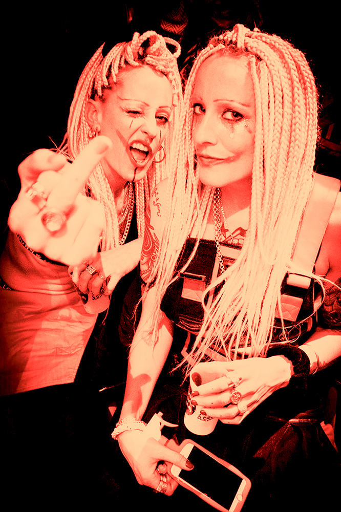#acabrave - East London-born Identical twins Polly and Sophie Duniam are a turbo-charged, all-singing, all-dancing duo making big waves on the underground rave scene, a creative force to be reckoned with, mashing up cockney-style vocals and rap with bass driven beats, they call this electric creation AcabaRave.My Bad Sister are reinventing the rave, bringing technicolour double-trouble to the darkest corners of the free party scene. Razor-sharp mirrored choreography, boundary-pushing costumes and super-catchy lyrics have earned them some serious love from ravers all over the world.Performance: LiveBooking Contact: DonnaLinks: Facebook | Soundcloud | InstagramPressKit