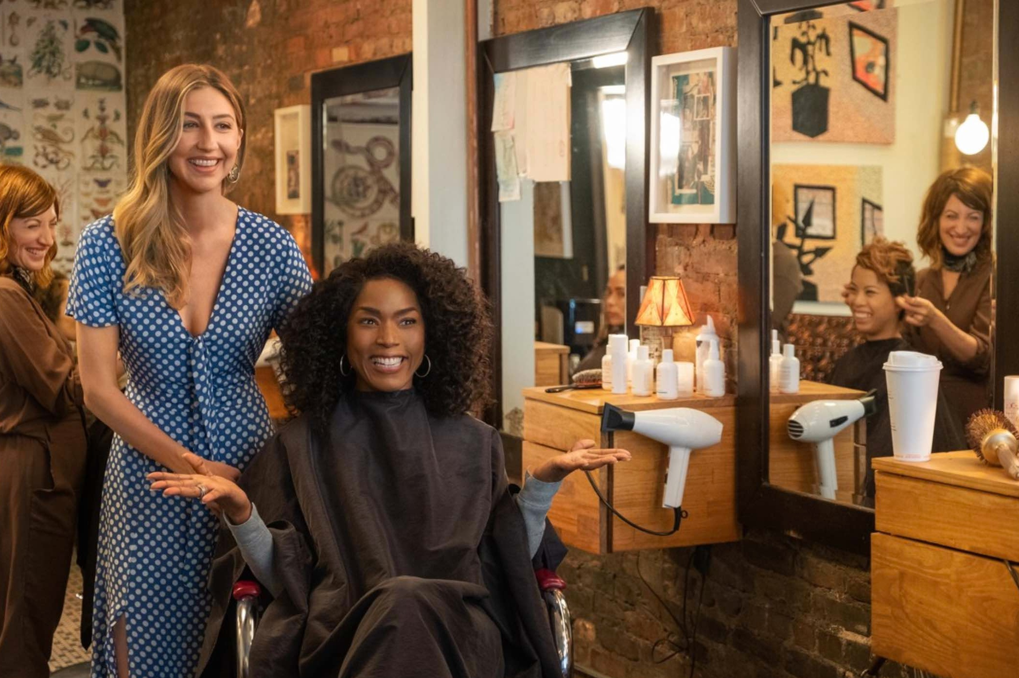 Otherhood,   directed by Cindy Chupack of  Sex in the City.  Pictured: salon owner Amy Schiappa, Margarita Allen, Heidi Gardner, and Angela Bassett  And yes! Fringe salon really does specialize in curly hair. Visit our  Instagram  to see more styles.