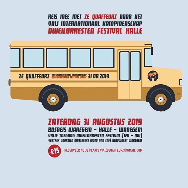 We nemen deel aan het vrij internationaal kampioenschap op het Dweilorkesten Festival in Halle en jij kan mee met onze tourbus! #dweilorkestenfestival #halle #vlamo #gekuntzeblazen #zequaffeurz