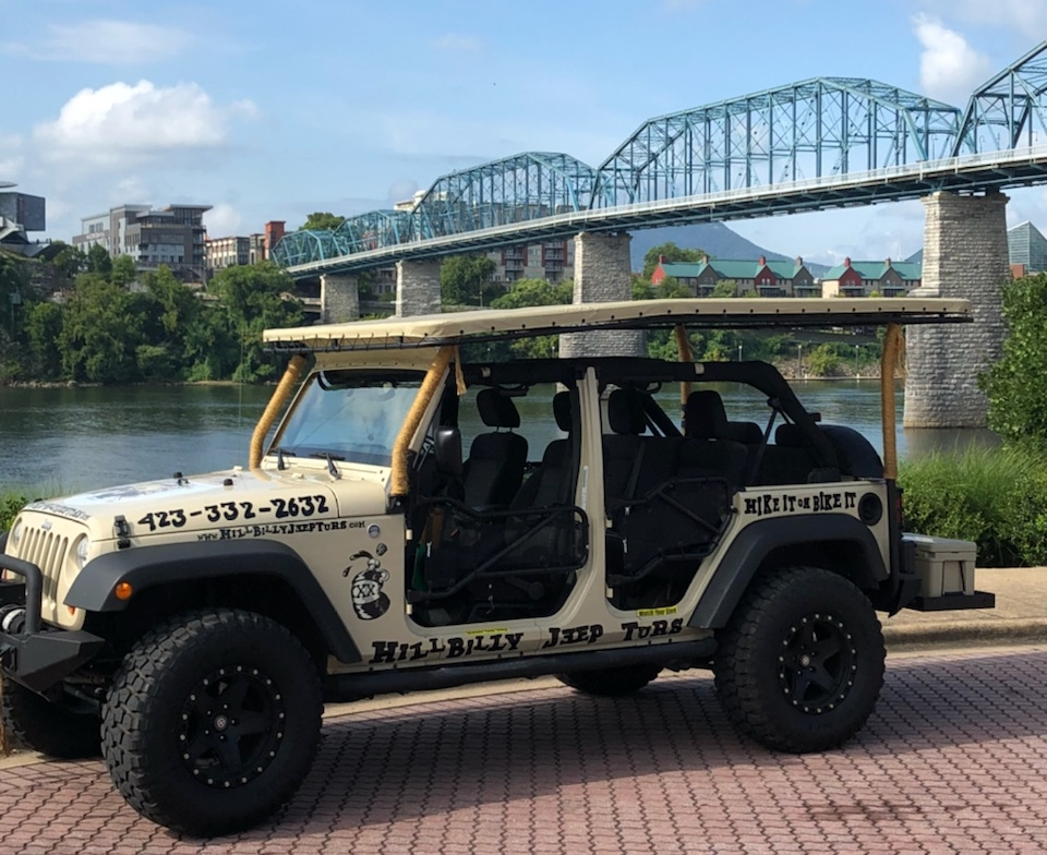 What To Expect! - Y'alls journey will begin by hopping in our customized open air Hillbilly Jeep. From there you will be driven on the road through the heart of downtown Chattanooga. Y'all will skedaddle yonder over some historical bridges to see history up close and enjoy River City.