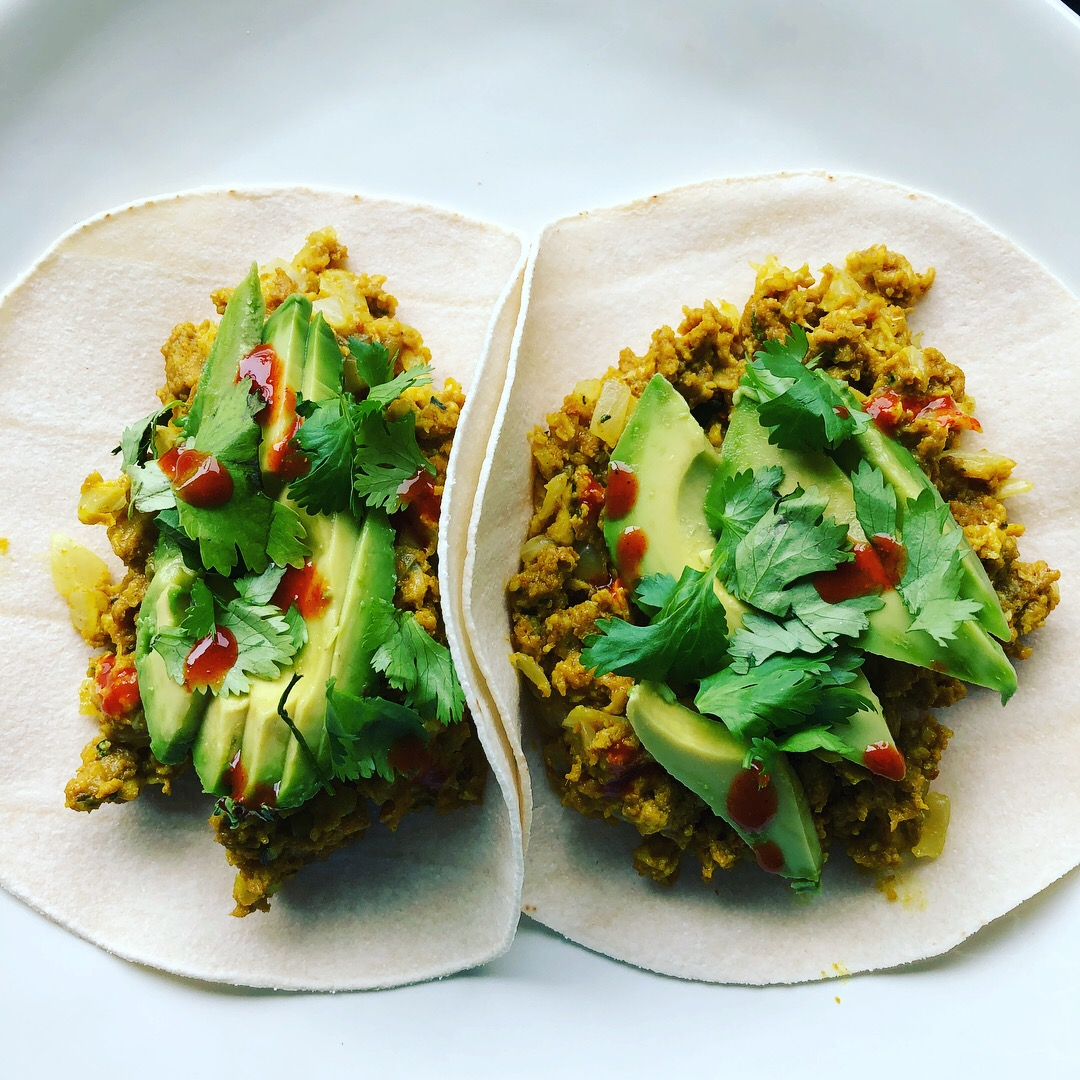 Curried breakfast tacos.