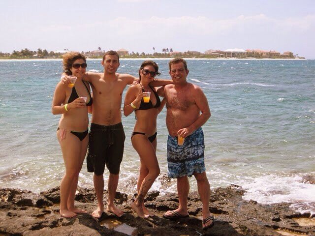 Sister, brother, dad, and me in The Bahamas, May 2007.